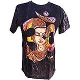 Black Acid Wash Om Yoga Meditation T-Shirt with Zen Buddha Screen Print (X-Large)