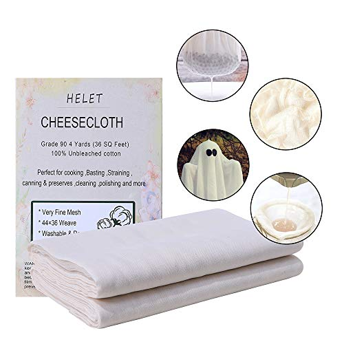 Cheesecloth,Reusable,100% Unbleached Cotton Fabric Cheesecloth,Ultra Fine Mesh for Straining,Yogurt,Cooking,Hallowmas Decorations (Grade 90-4Yards)