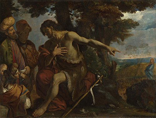 The Museum Outlet - Pier Francesco Mola - Saint John the Baptist preaching in the Wilderness, Stretched Canvas Gallery Wrapped. 11.7x16.5