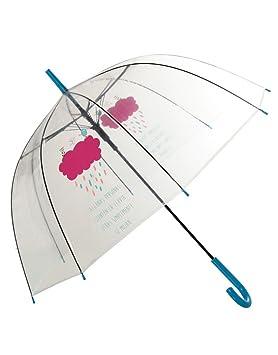 Hogar y Mas Paraguas Burbuja Transparente Original con Frase Divertida Happy Rain 85 X 80 CM
