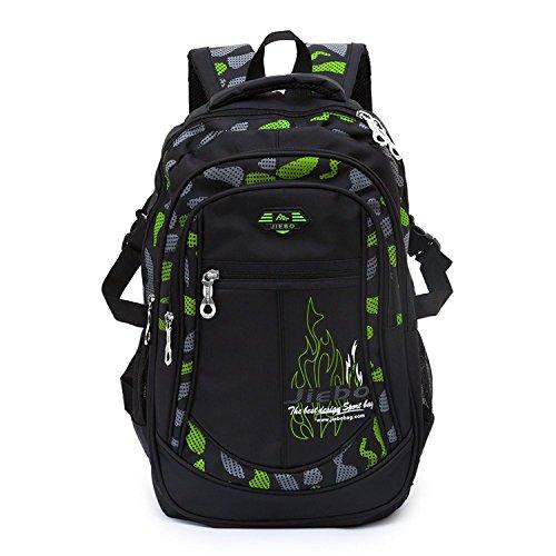 Boys School Backpacks Kids Bookbag Durabl Student Book Bag Outdoor Travel Camping Daypack Green
