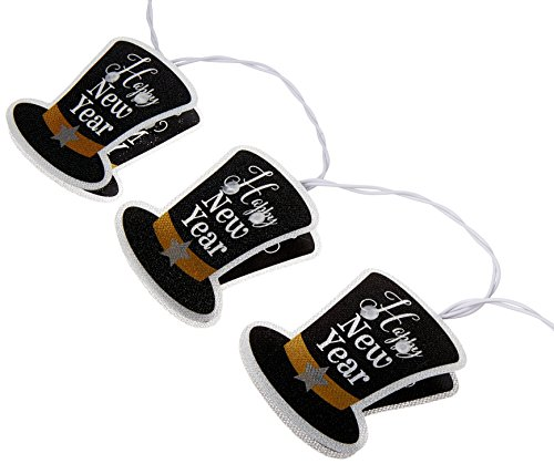 Hat Happy New Top Year (Grand New Year Party LED Battery Operated Top Hats String Lights Decoration, Black/White, Plastic, 70