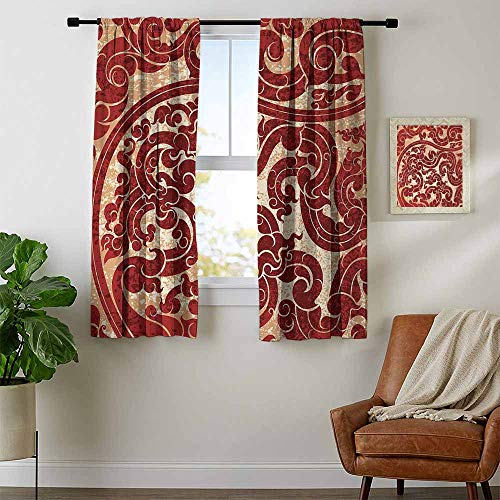 youpinnong Antique, Curtains Set of 2, Thai Culture Vector Abstract Background Flower Pattern Wallpaper Design Artwork Print, for Living Room, W54 x L39 Inch Ruby