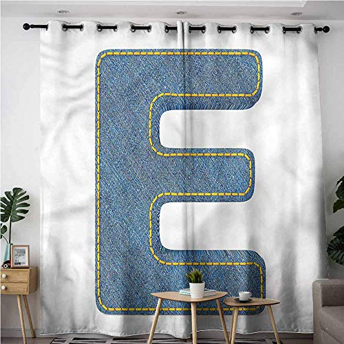 XXANS Extra Wide Patio Door Curtain,Letter E,Denim Blue Jeans E,Blackout Window Curtain 2 Panel,W120x72L Chocolate Black Denim Jean
