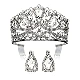 DcZeRong Black Crown Queen Princess Costume Tiara Women Birthday Prom Pageant Crystal Diamond Crown