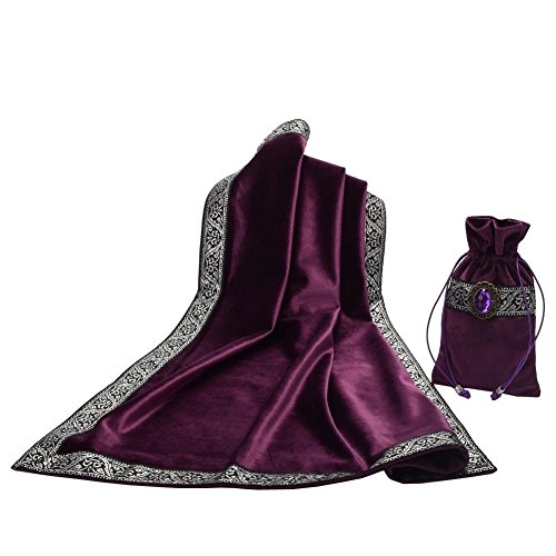 (Hao Run New Altar Tarot Cards Bag Table Cloth Tablecloth Divination Wicca Velvet Tapestry (Purple))