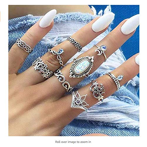 Tcplyn Premium 10Pcs Bohemian Winter Opal Knuckle Ring Set Retro Charming Punk Stacking Ring Finger Midi Ring Set for Women Girl Jewelry Accessories Gift Convenient