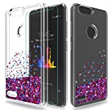 ZTE Sequoia Case,ZTE Blade Zmax Pro 2 / ZTE Blade Z Max Case with HD Screen Protector,Wtiaw Flowing Liquid Floating Ultra Thin Shock Absorption Clear TPU Quicksand Cover Case for ZTE Z982-SA Rose Red
