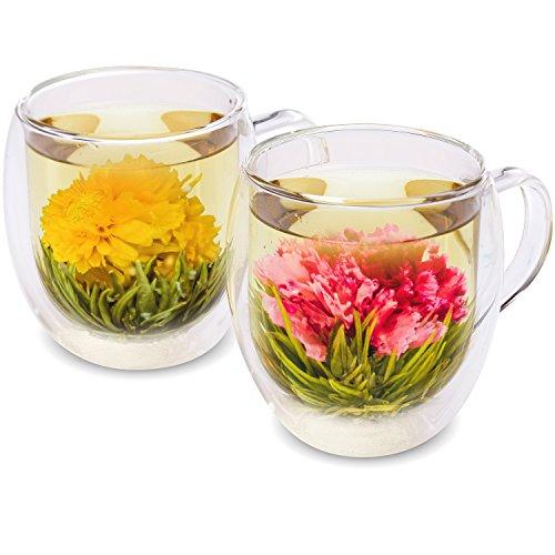Teabloom Natural Flowering Tea - 12 Unique Varieties of Blooming Tea Balls - Hand-Tied Green Tea & Edible Flowers - 12-Pack Gift Canister - 36 Steeps, Makes 250 Cups by Teabloom (Image #6)