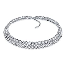 Bling Jewelry Bezel Set Crystal Bridal Choker Rhodium Plated Necklace 16 Inches