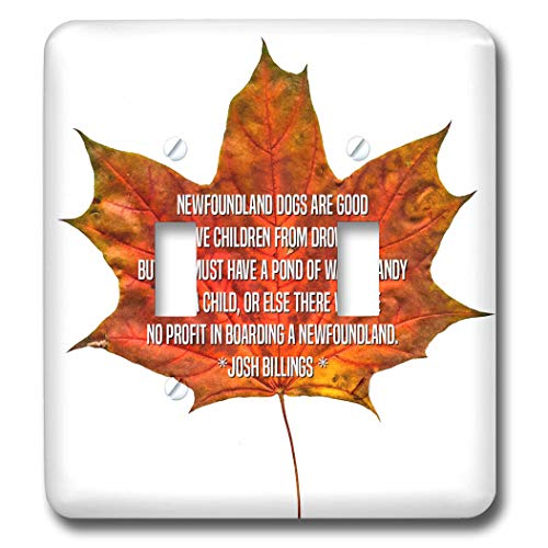 (3dRose Alexis Design - Quotes Josh Billing - Orange maple leaf and the text Newfoundland dogs are good to save. - Light Switch Covers - double toggle switch (lsp_302388_2))