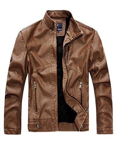 Cuir Hommes Veste Outerwear Pu Kaki Motard Manteau Vogstyle 3 Moteur Style ZEwFPxnq