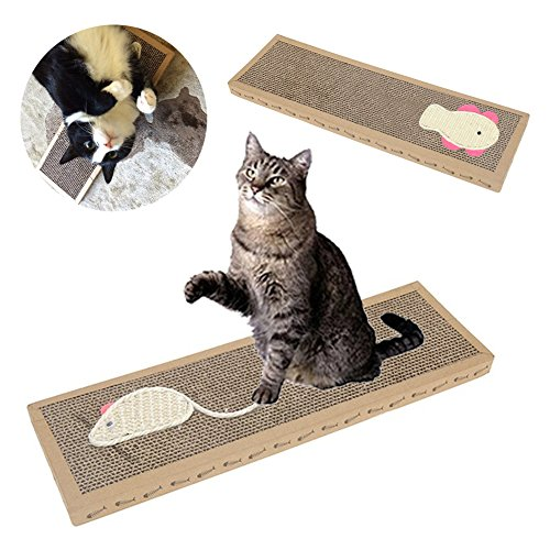Sunglory Pet Cat Scratch Pad, Corrugated Safty Scratch Board Mat Catnip Bed, Claw Training Toy for Kitten Cat