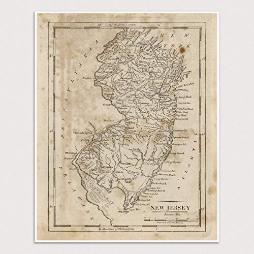 - Old New Jersey Map Art Print, 1816, Archival Reproduction, Unframed