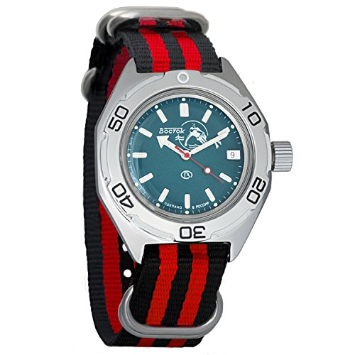 Jewel Movement (Vostok Amphibian Automatic WR 200m Scuba Dude Dial Mens Self-Winding Amphibia Case Wrist Watch #670059 (Black+red))