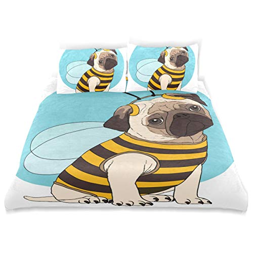Duvet Cover Cotton Bedding 3 Piece Set Comforter Quilt Cover with Zipper Closure, Soft and Durable,Morden Funnly Pug Costume Bee Style for Boys Girls Single Man and Women