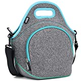 QOGiR Insulated Neoprene Lunch Bag Tote with Zipper Pocket & Strap - Large