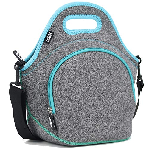 """QOGiR Insulated Neoprene Lunch Bag Tote with Zipper Pocket & Strap - Large 12"""" x 12"""" x 6.5"""" inch(Fits Containers up to 8""""Lx7""""Hx6""""W) ~ Dark Grey"""