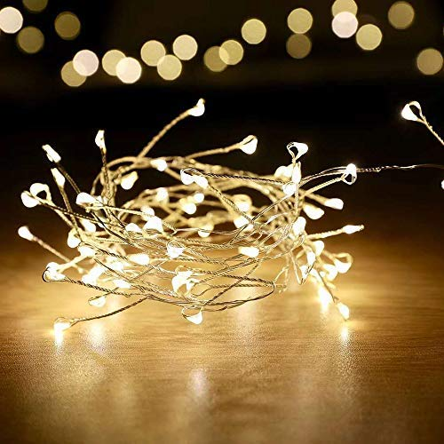 100 LED Cluster Fairy Lights,Firecrackers Starry String Garland,USB Interface,Waterproof Christmas Holiday Decoration Indoor/Outdoor Bedroom,Garden,Yard,Patio,Wedding (8.2Ft Silver Wire,Warm White)