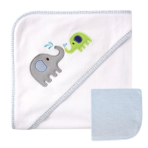 Luvable Friends Hooded Towel and Washcloth, Blue Elephant