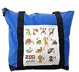 Lunarable ABC Kids Shoulder Bag, Education Creative Concept, Durable with Zipper