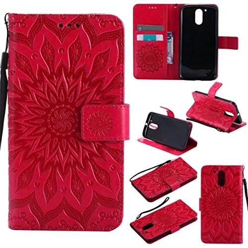 Price comparison product image Moto G4 / G4 Plus Wallet Case, A-slim(TM) Beauty Fashion Sun Pattern Embossed PU Leather Magnetic Flip Cover Card Holders & Hand Strap Wallet Purse Cover Case for Motorola Moto G4 / G4 Plus - Red