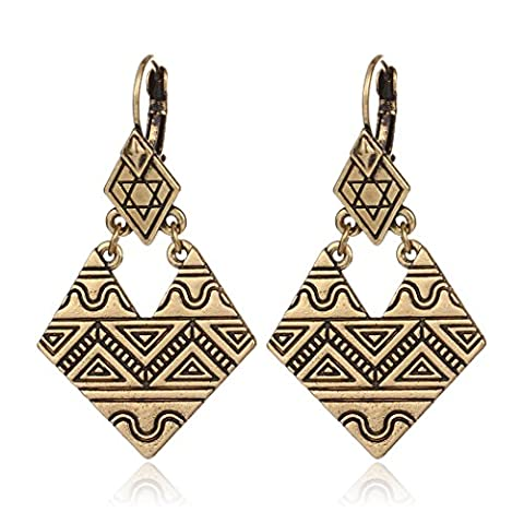 HUIMEI Ancient Silver Plated Double Layer Geometric Carving Ethnic Mystical Totem Dangle Earring - Round Sterling Silver Wire Basket