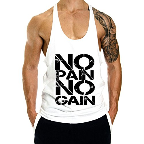 Gym Sleeveless - InleaderStyle Men's Gym Cotton NoPainNoGain Stringer Vest-White-M