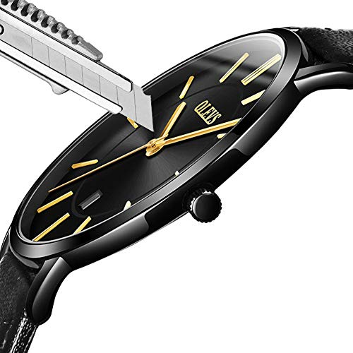 Fashion Wrist Watches for Men Water Resistant Ultra Thin Quartz Watch,Analog Day Date Watches Men Calendar 2018,Business Wristwatches Waterproof,Black Leather Strap Watch,OLEVS Round Dial,Adjustable - Leather Strap Wrist Watch