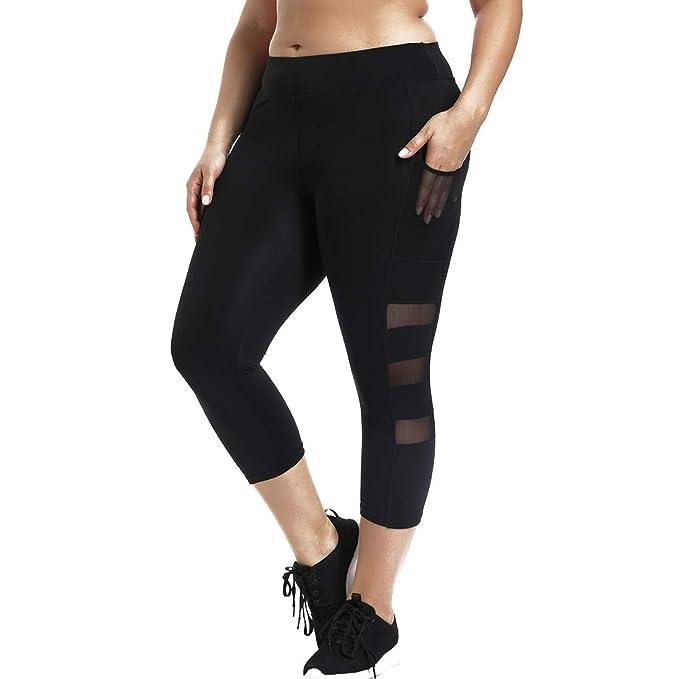 215c8e0e08517 Amazon.com  Joyshaper Black Capri Workout Mesh Leggings for Women with  Pockets High Waist Cropped Gym Yoga Pants  Clothing