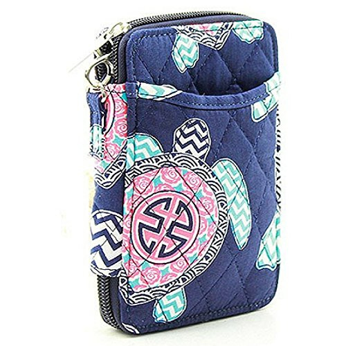 (Wristlet Wallet for Girls Quilted Fun Designs with Phone Pouch (Turtles on Navy))