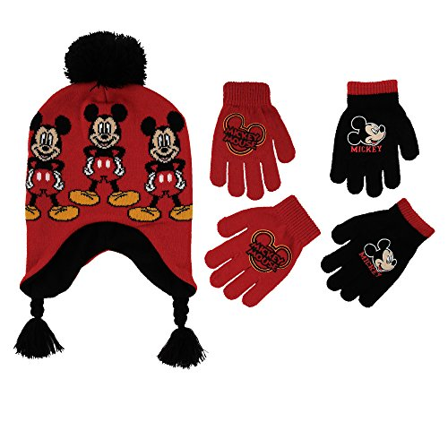 Disney Little Boys Mickey Mouse Hat and 2 Pair Gloves or Mittens Cold Weather Accessory Set, Ages 2-7 (Little Boys Age 4-7 Hat & 2 Pair Gloves Set, Red)