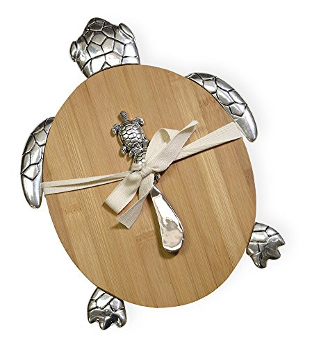 Boston International NOO17456 Bamboo Cutting Board and Spreader Set, Sea Turtle