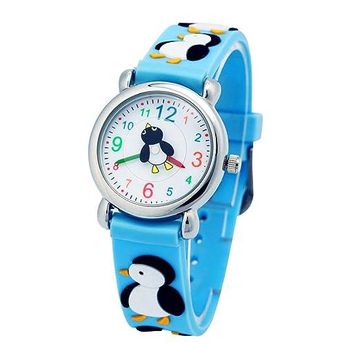 El Reloj de Niños de Vinmori, Reloj de Cuarzo con Dibujos Animados Bonitos de 3D a Prueba de Agua Regalo para Chicos Niños y Niñas Pingüino Azul: Amazon.es: ...