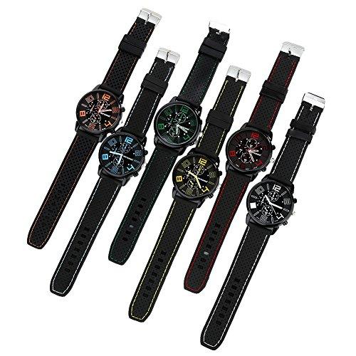 FinancePlan Men's Fashion Quartz Analog Watches, Silicone Rubber Band Stainless Steel Wrist Watch on Sale Clearance by FinancePlan (Image #6)