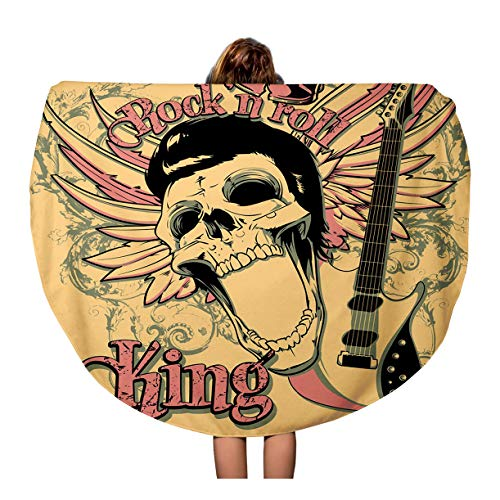 Semtomn 60 Inches Round Beach Towel Blanket Skull Rock and Roll King Artistic Star Vintage Acoustics Travel Circle Circular Towels Mat Tapestry Beach Throw -