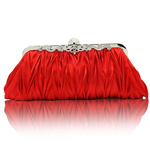 Kingluck Silk Cocktail Evening Handbags/Clutches in Gorgeous Silk More Colors Availabl (red)