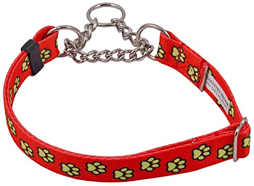 Country Brook Design Red Busy Paws Half Check Dog Collar - Extra Large