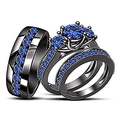 3.95CT Blue Sapphire Milgrain 18k Black Gold FN Trio Ring Set Three Stone Wedding & Engagement ()