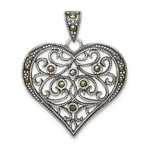 - 925 Sterling Silver Marcasite Heart Pendant Charm Necklace Love Fine Jewelry Gifts For Women For Her