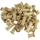 Creation Station Assorted Sizes Wooden Spools ,  Natural , Pack of 60