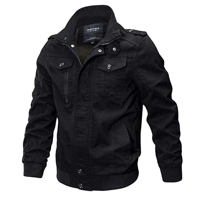 PASATO Mens Clothing Jacket Coat Military Clothing Tactical Outwear Breathable Coat(Black, ...