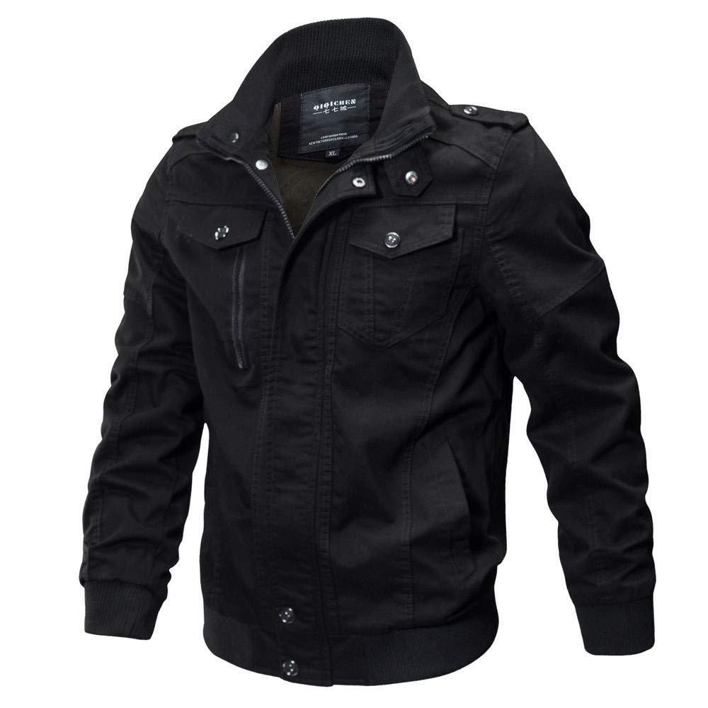 PASATO Men's Clothing Jacket Coat Military Clothing Tactical Outwear Breathable Coat(Black, XXXXXL)