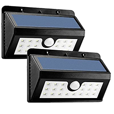 KINGSO Solar Motion Sensor Outdoor Wall Lights Waterproof Solar Powered Light for Outside with 3 Intelligent Modes, 3 LEDs Both Side, Wireless Motion Activated Solar Light for Patio, Driveway