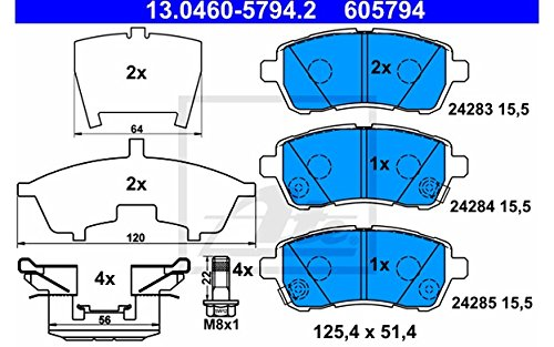 ATE for Disc 5794.2 4x Front Brake Pads: