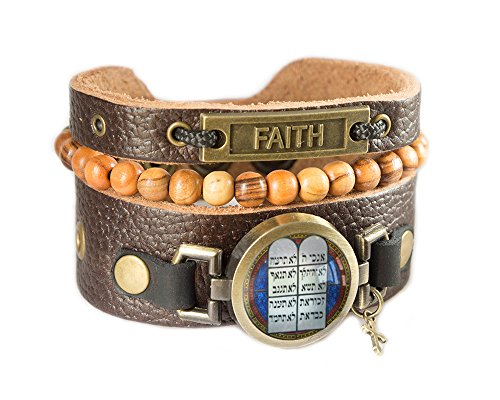 (Hebrew Ten Commandments Leather Bracelet with Bethlehem Rosary Olive Wood Beads, Holy Land Jewelry (Men's wrist: 7.5 - 8.5 Inches))