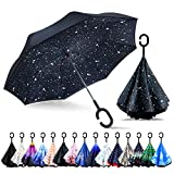 ZOMAKE Double Layer Inverted Umbrellas for Women, Reverse Folding Umbrella Windproof UV Protection