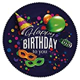 iPrint No Chemical Odor Round Tablecloth [ Birthday Decorations,Colorful Balloons Curling Ribbons Carnival Mask Party Hat and Confetti,Multicolor ] Kids Designs