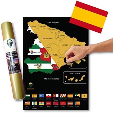 Global Walkabout ESPAÑOL - Mapa de scratch de regiones de países españoles con fondo de banderas - Regalo De Viaje -(negro): Amazon.es: Oficina y papelería