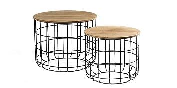 économiser 25c39 9ade1 LIFA LIVING Basket | Table Gigogne Bois et Métal | Table Basse Coffre Noir  Bois | 2 Tables Basses Gigognes avec Couvercle en Bois | Tables d'Appoints  ...